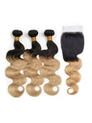 Ombre Honey Blonde Body Wave Bundles+Closure Deals (1b/27)