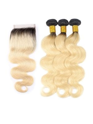 2-Tone 1b/613 Blonde Body Wave Bundles+Closure Deals
