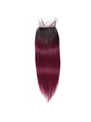 Dark Root Burgundy Straight 4*4 Closure