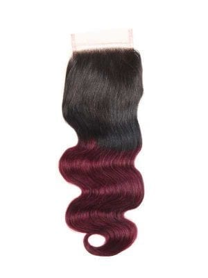 Dark Root Burgundy Body Wave 4*4 Closure