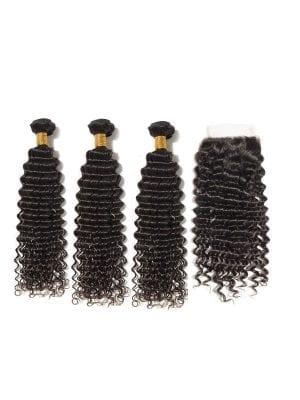 Brazilian Curly (10A) Bundles + Closure