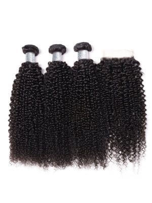 Malaysian Kinky Curly (9A) Bundles+Closure