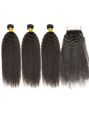 Brazilian Kinky Straight (10A) Bundles + Closure