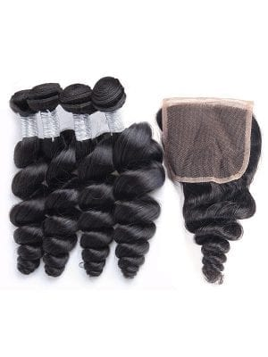 Malaysian Loose Wave (9A) Bundles+Closure