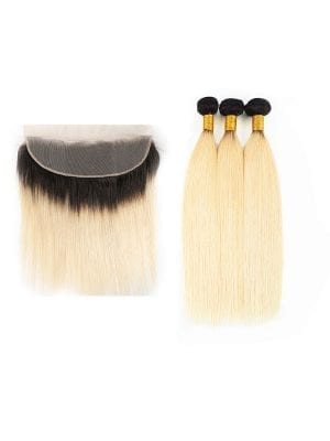 2-Tone 1b/613 Blonde Straight Bundles+Frontal Deals