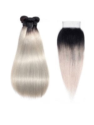 Straight Ombre Silver Bundle Bundles+Closure Deals