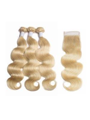 Russian Blonde Body Wave Bundles+Closure