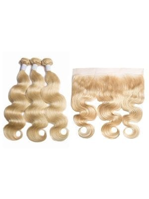 Russian Blonde Body Wave Bundles+Frontal