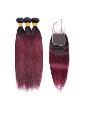Dark Root Burgundy Straight Bundles+Closure Deals