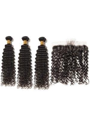 Brazilian Curly (10A) Bundles + Frontal