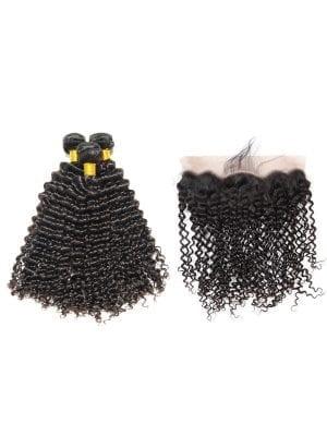 Brazilian Kinky Curly (10A) Bundles + Frontal