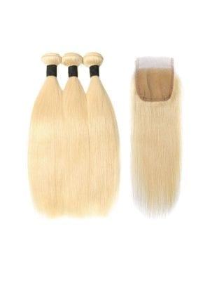 Russian Blonde Straight Bundles+Closure