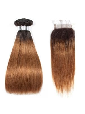 Ombre Golden Brown Straight Bundles+Closure Deals (1b/30)