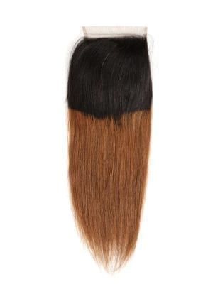 Ombre Golden Brown Sleek Straight  4*4 Closure (1b/30)