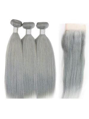 Straight Silver Bundle Bundles+Closure Deals